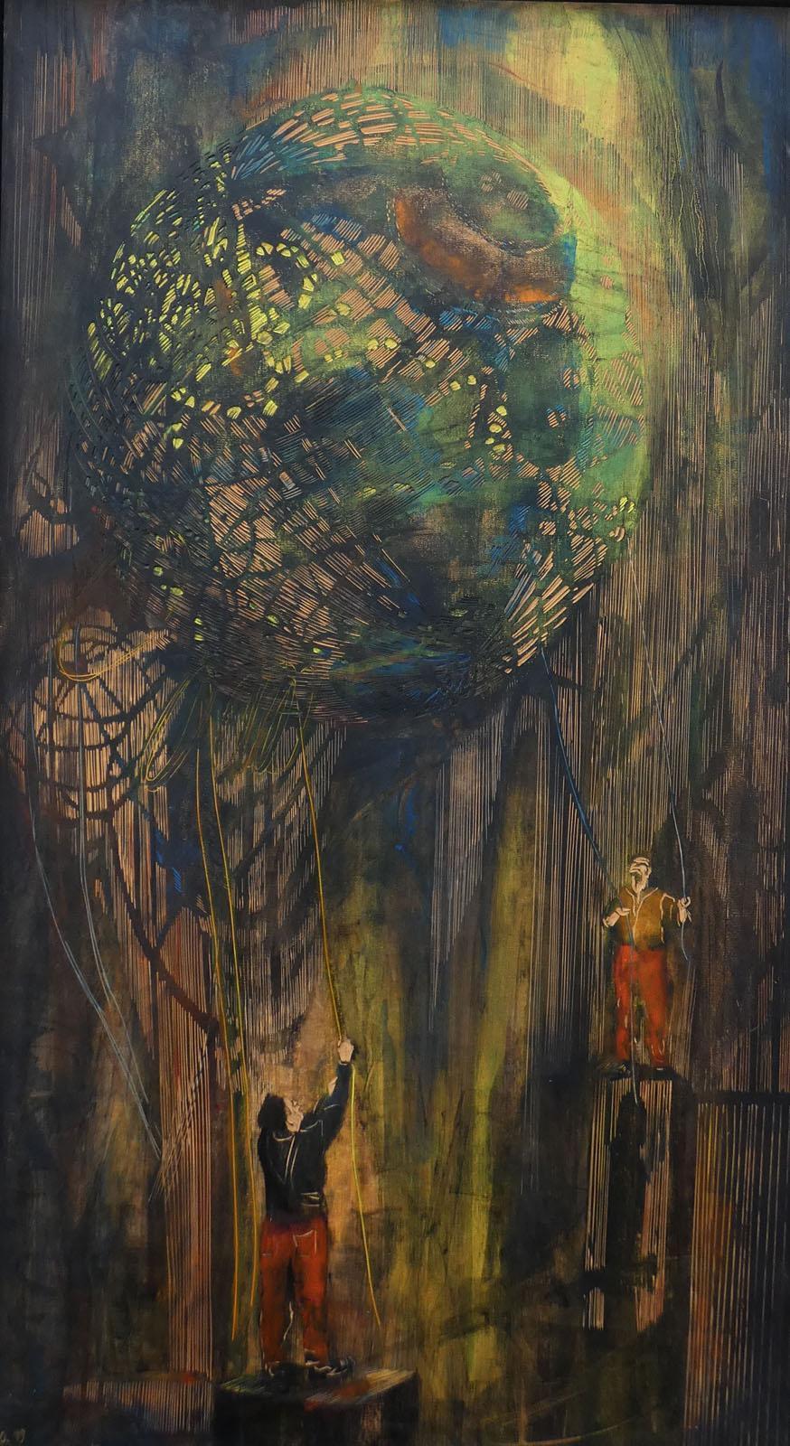 Nachtkugel II, 2019, 116 x 66 cm, Linoleum, Alkydfarbe