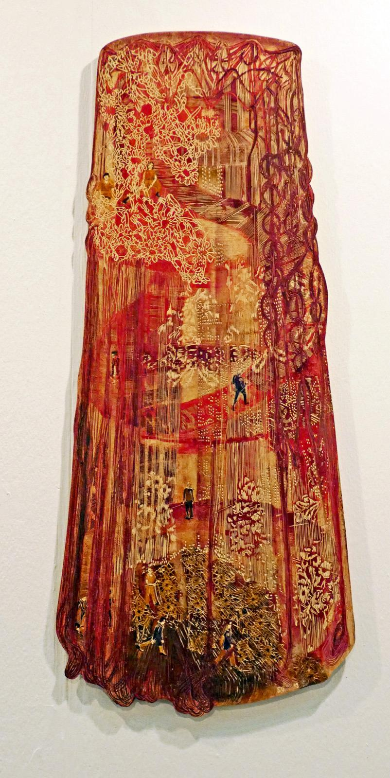 Spitzenlauf (Aufwärts immer...), 2019, 120 x 50 cm, linolschnitt, Alkydfarbe