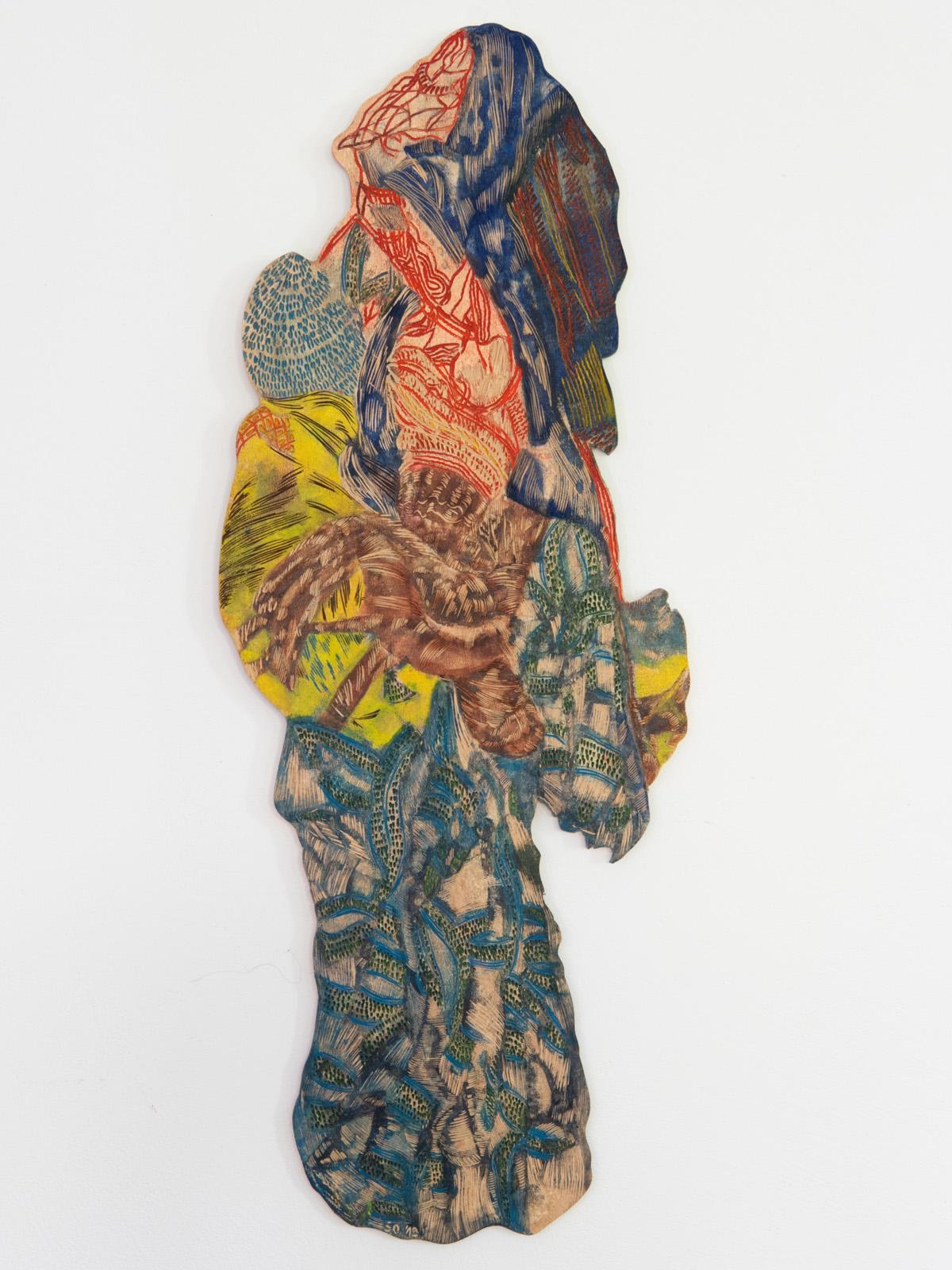 Unterwegs II, 2019, 89 x 34 cm, Linolschnitt, Alkydfarbe