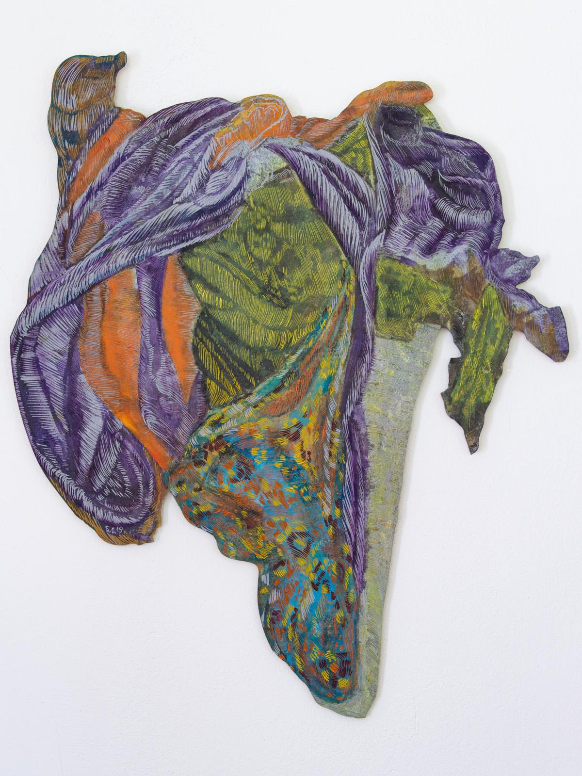 Unterwegs III, 80 x 64 cm, Linolschnitt, Alkydfarbe