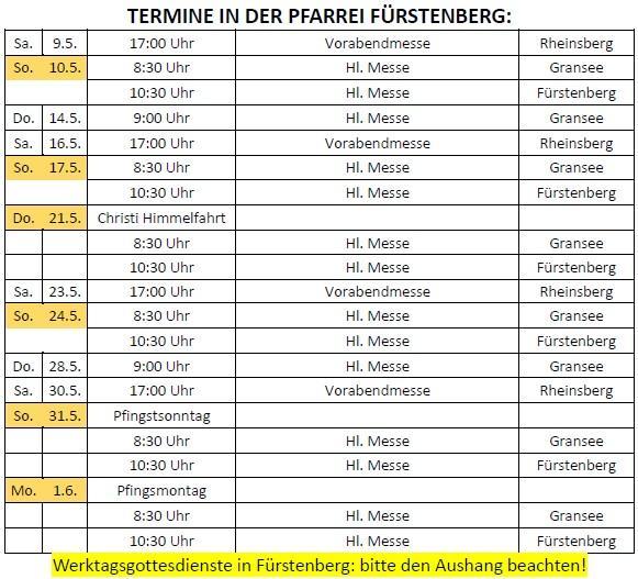 Termine in der Pfarrei Fürstenberg