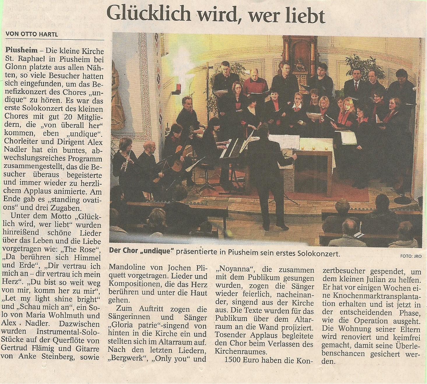 """29. März 2009 """"Glücklich wird wer liebt!"""""""