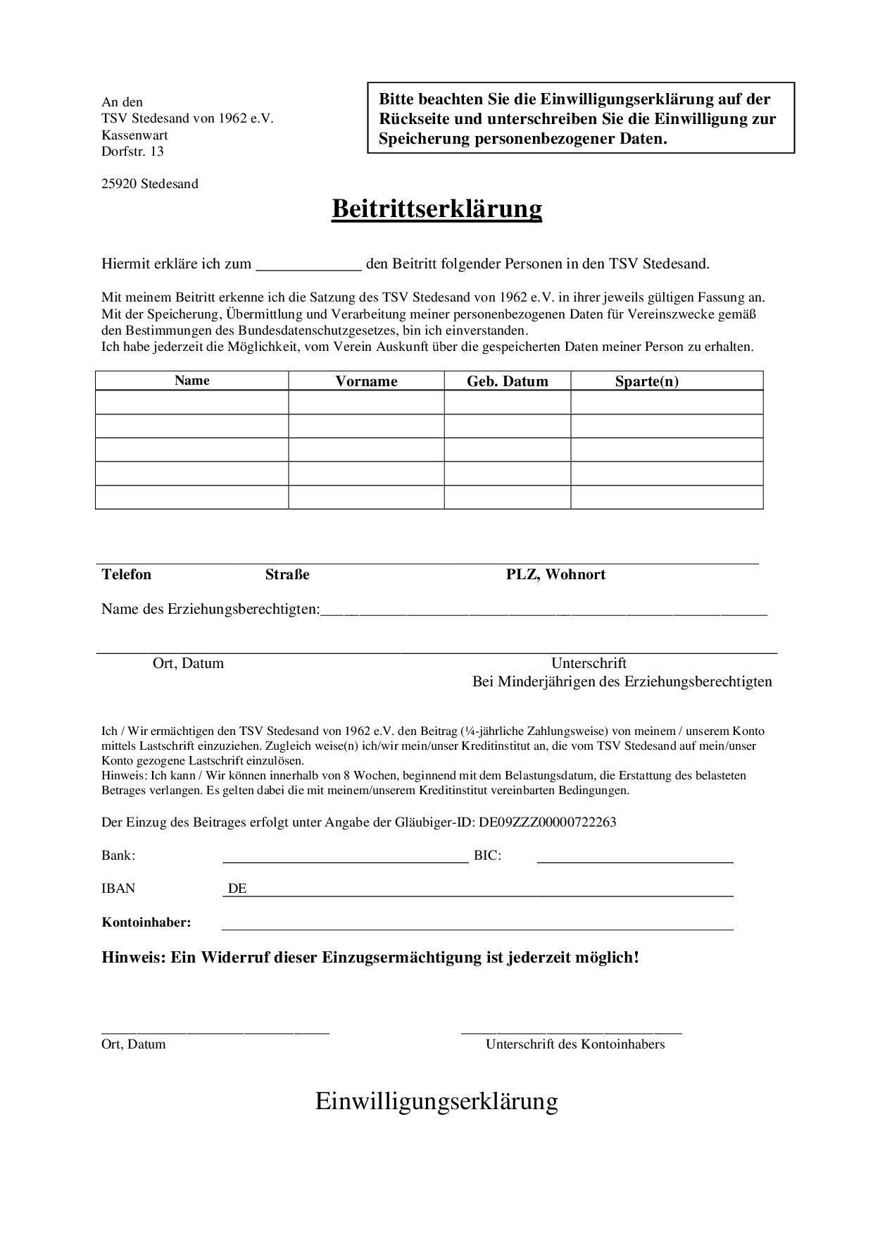 Beitrittsserklärung Seite 1