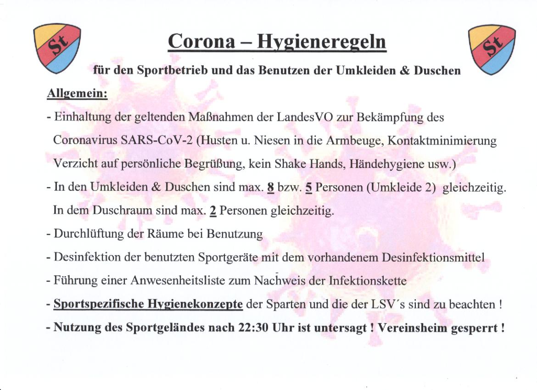 Corona Hygieneregeln TSV