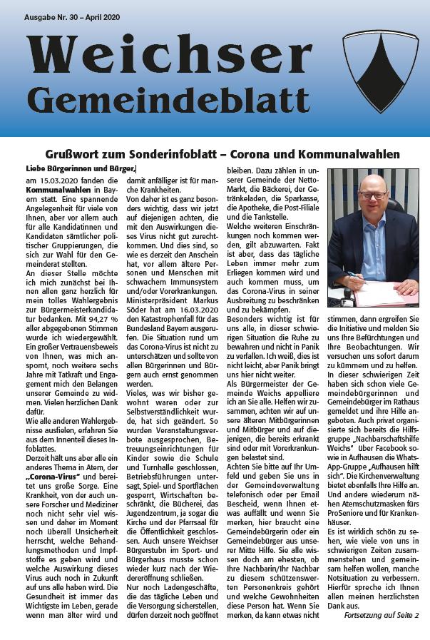 Gemeindeinfoblatt April 2020