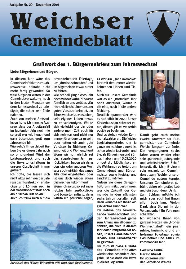 Gemeindeinfoblatt 1. Seite Dezember 2019