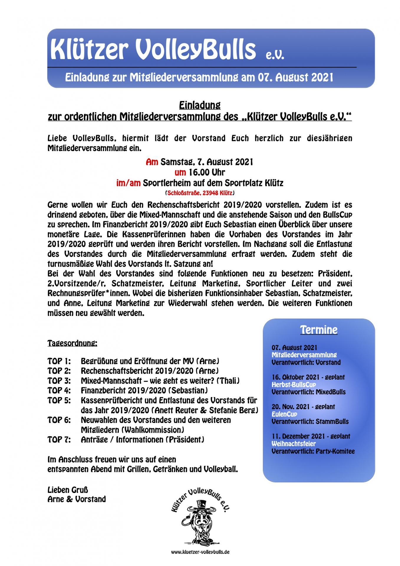 Einladung zur Mitgliederversammlung am 7. August 2021