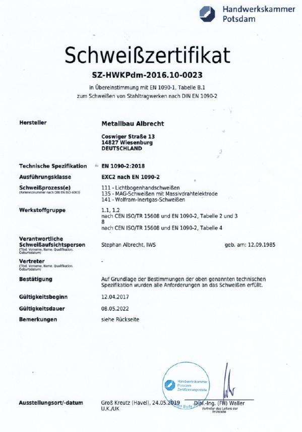 Zertifikat Schweißen