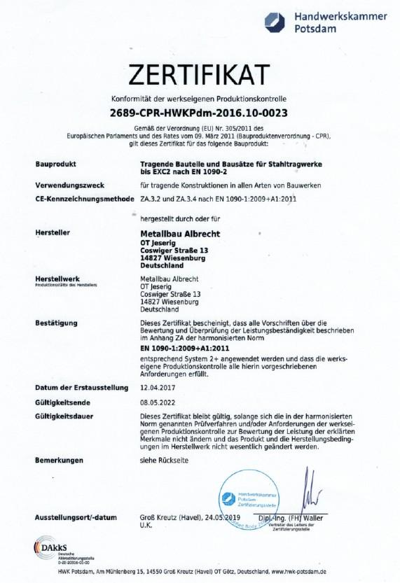 Zertifikat Tragende Bauteile