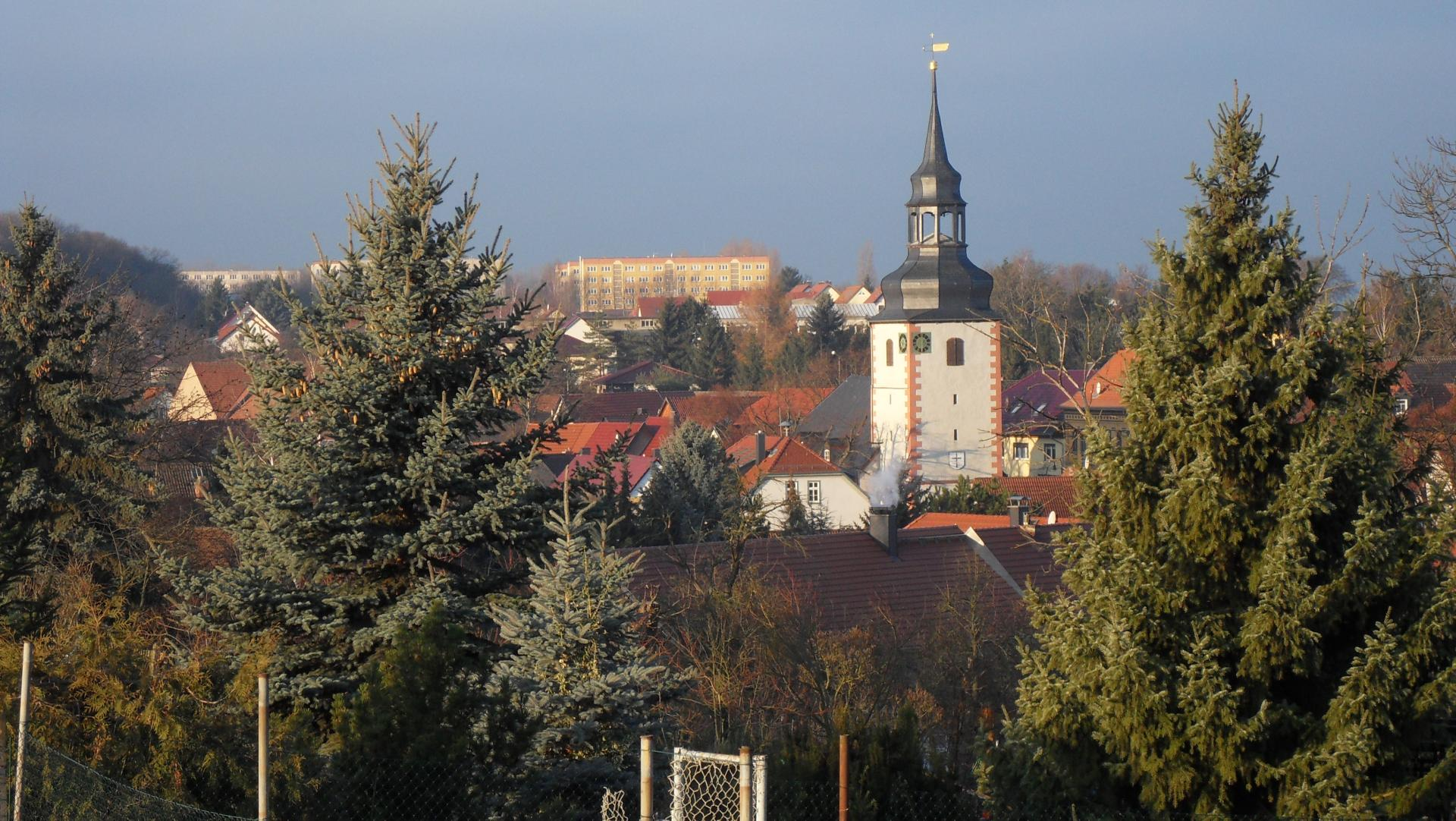 Sprötau_blick über Dorfmitte zur Siedlung Am Walde