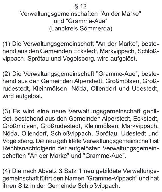 Auszug aus dem Thüringer Gemeindeneugliederungsgesetz 2019