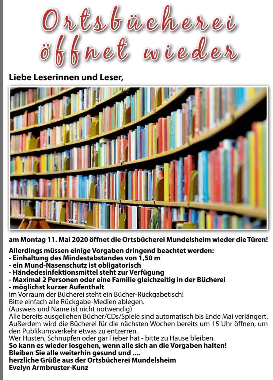 Ortsbücherei öffnet wieder