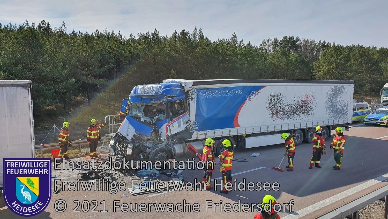 Einsatz 21/2021 | VU LKW -  LKW | BAB 12 AS Friedersdorf - AS Storkow | 10.03.2021