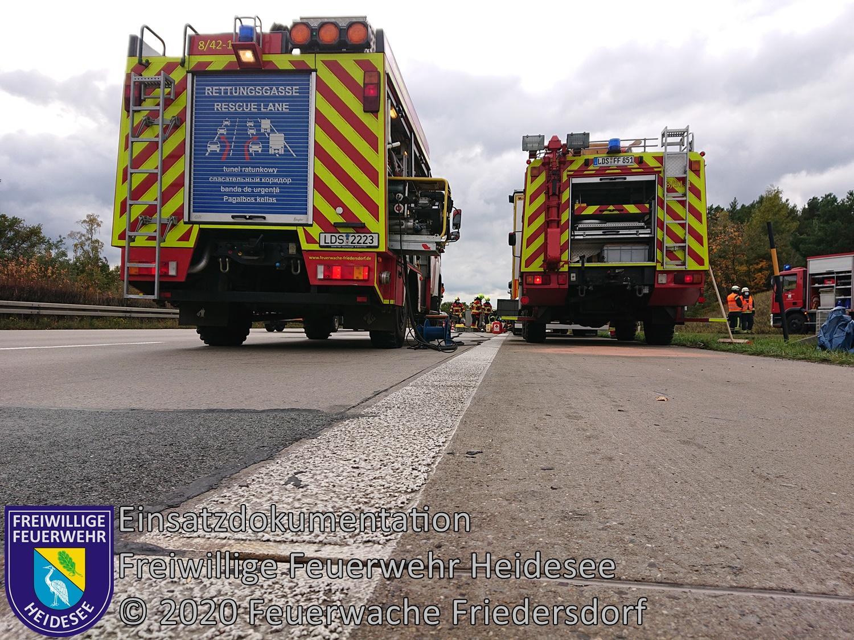 Einsatz 139/2020 | Auslaufender Diesel aus LKW | BAB 10 AD Spreeau - AS Niederlehme | 27.10.2020