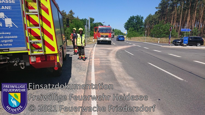 Einsatz 62/2021 | 3x 50m Dieselspur | Ortslage Friedersdorf | 14.06.2021