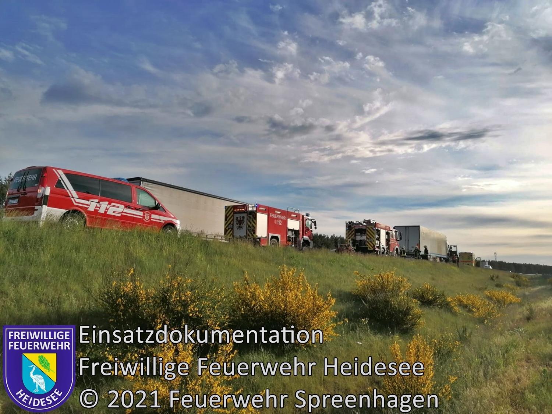 Einsatz 53/2021 | Heißgelaufene Bremse | BAB 12 AS Storkow - AS Friedersdorf | 24.05.2021