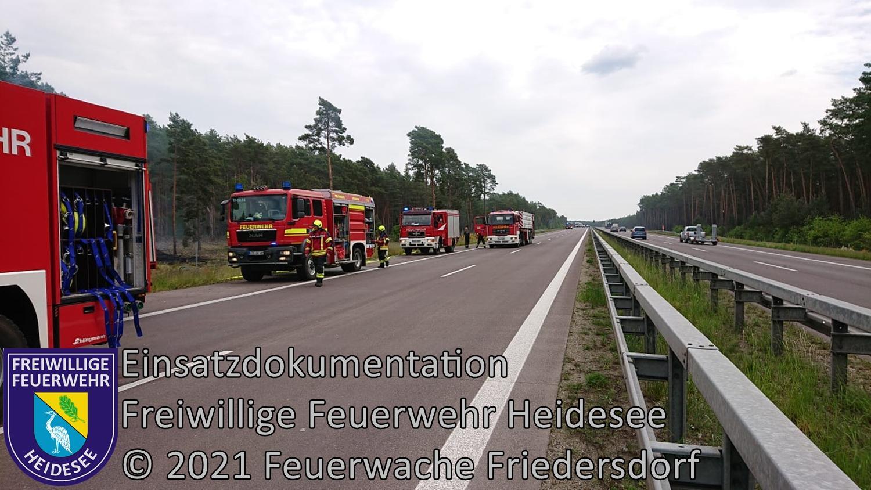 Einsatz 56/2021 | 600m² Waldbodenbrand an 2 Brandstellen | BAB 12 AS Storkow - AS Friedersdorf | 01.06.2021
