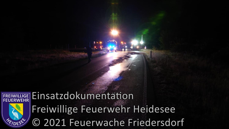 Einsatz 57/2021 | Ölverlust aus Schwerlaster | L39 AS Friedersdorf | 04.06.2021