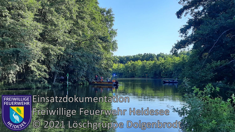 Einsatz 94/2021 | Baum im Wasser | Kanal zwischen Wolziger und Langer See | 30.07.2021