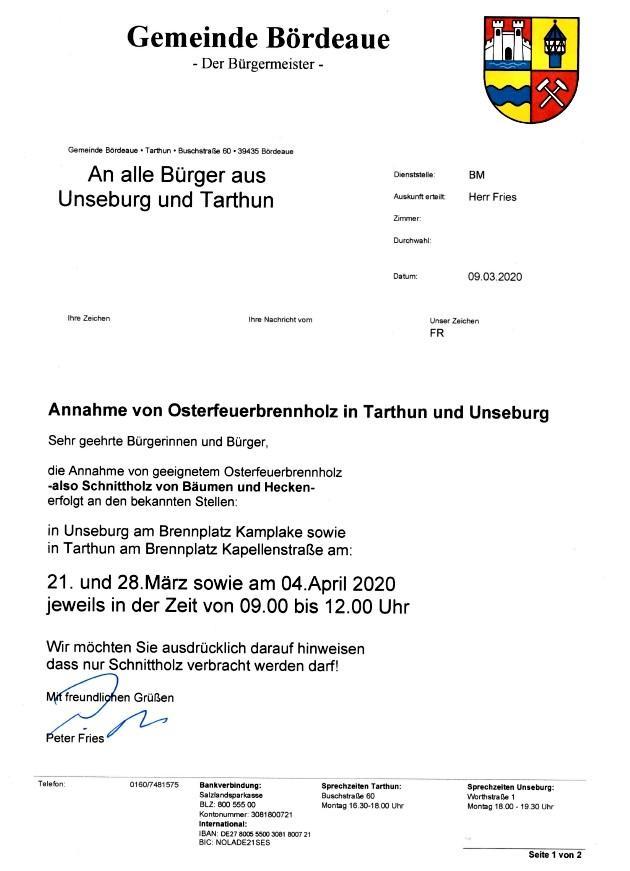 Annahme Osterfeuerholz 2020