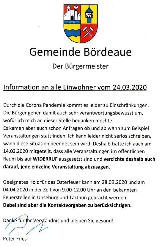 Info an die Einwohner vom 24.03.2020