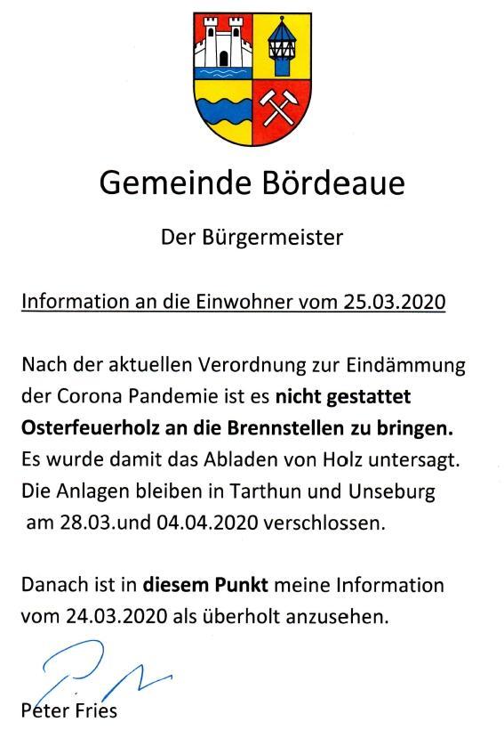 Info an die Einwohner vom 25.03.2020