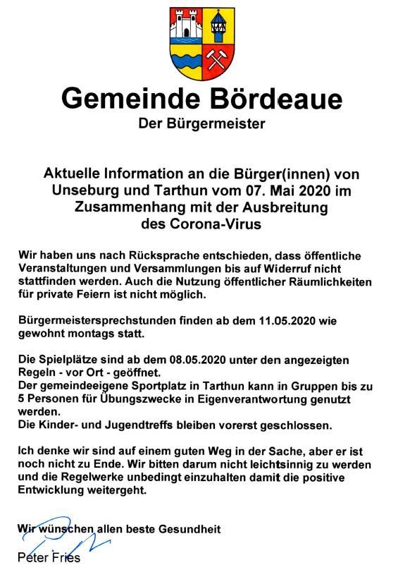 Info an die Bürger vom 07.05.2020