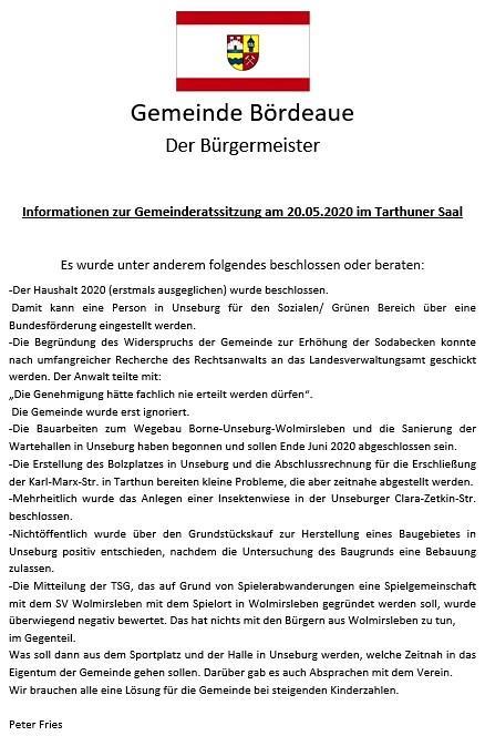 Info zur GR Sitzung am 20.05.2020 a