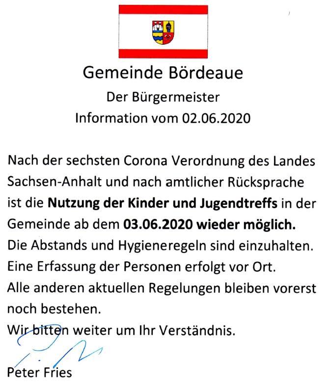 Info vom 02.06.2020