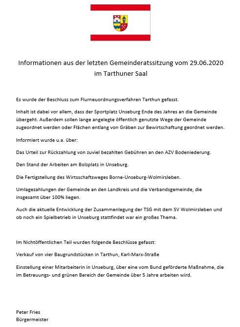 Info von der Ratssitzung am 29.06.2020