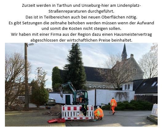 Strassenreparaturen in Unseburg und Tarthun