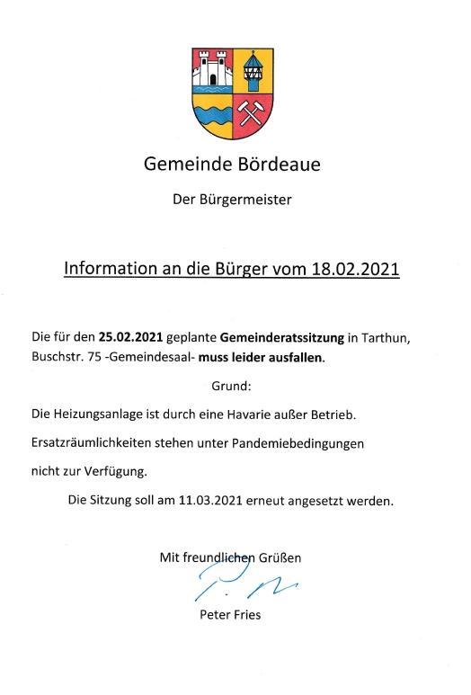 Info an die Bürger vom 18.02.2021