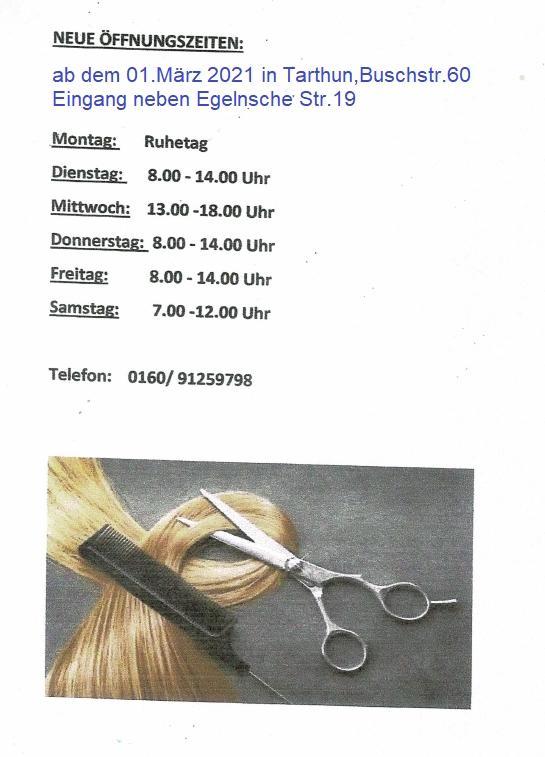 Neue Friseurzeiten in Tarthun