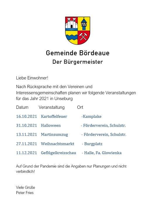 Veranstaltungen in Unseburg 2021 Stand 01.10.2021