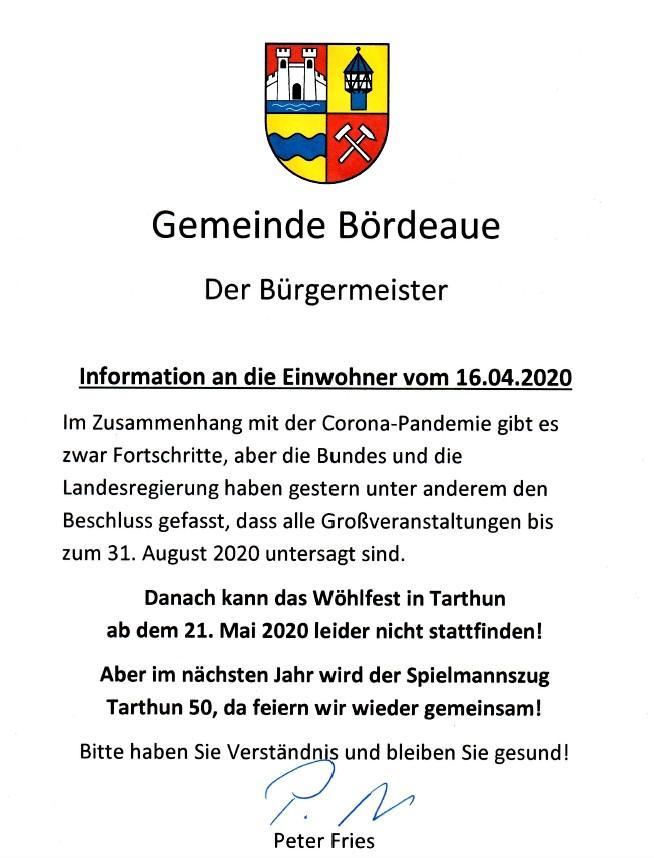 Info an die Einwohner vom 16.04.2020