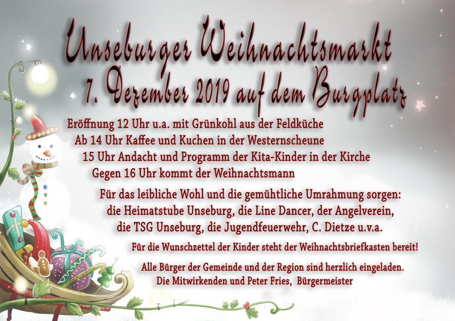 Weihnachtsmarkt Unseburg 2019