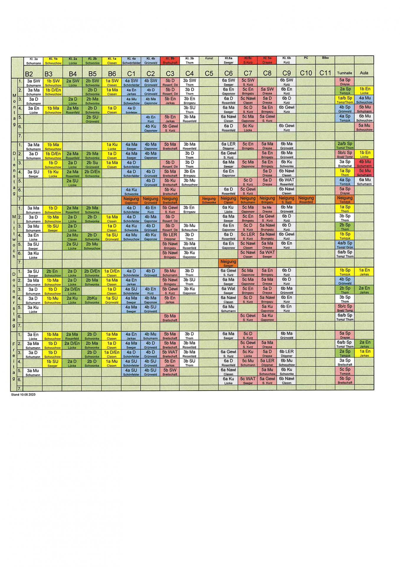 Stundenplan 1. SHJ 2020/21
