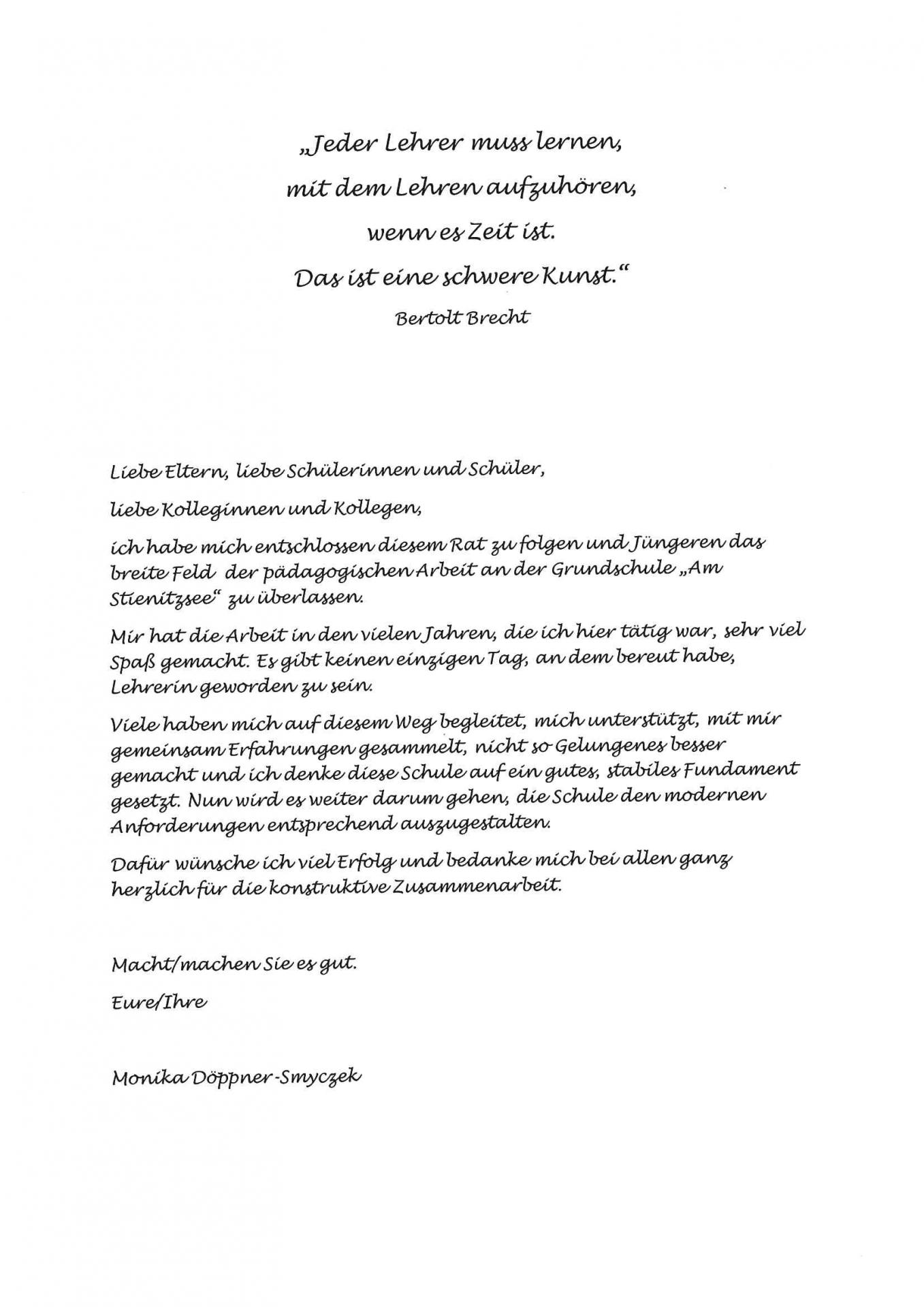 Danksagung Fr. Döppner