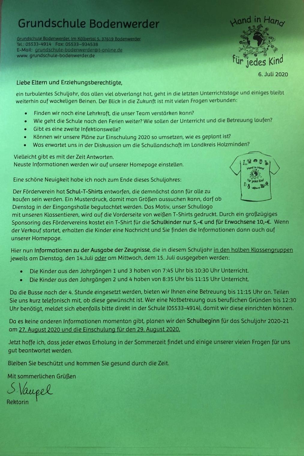 Brief Juli 2020