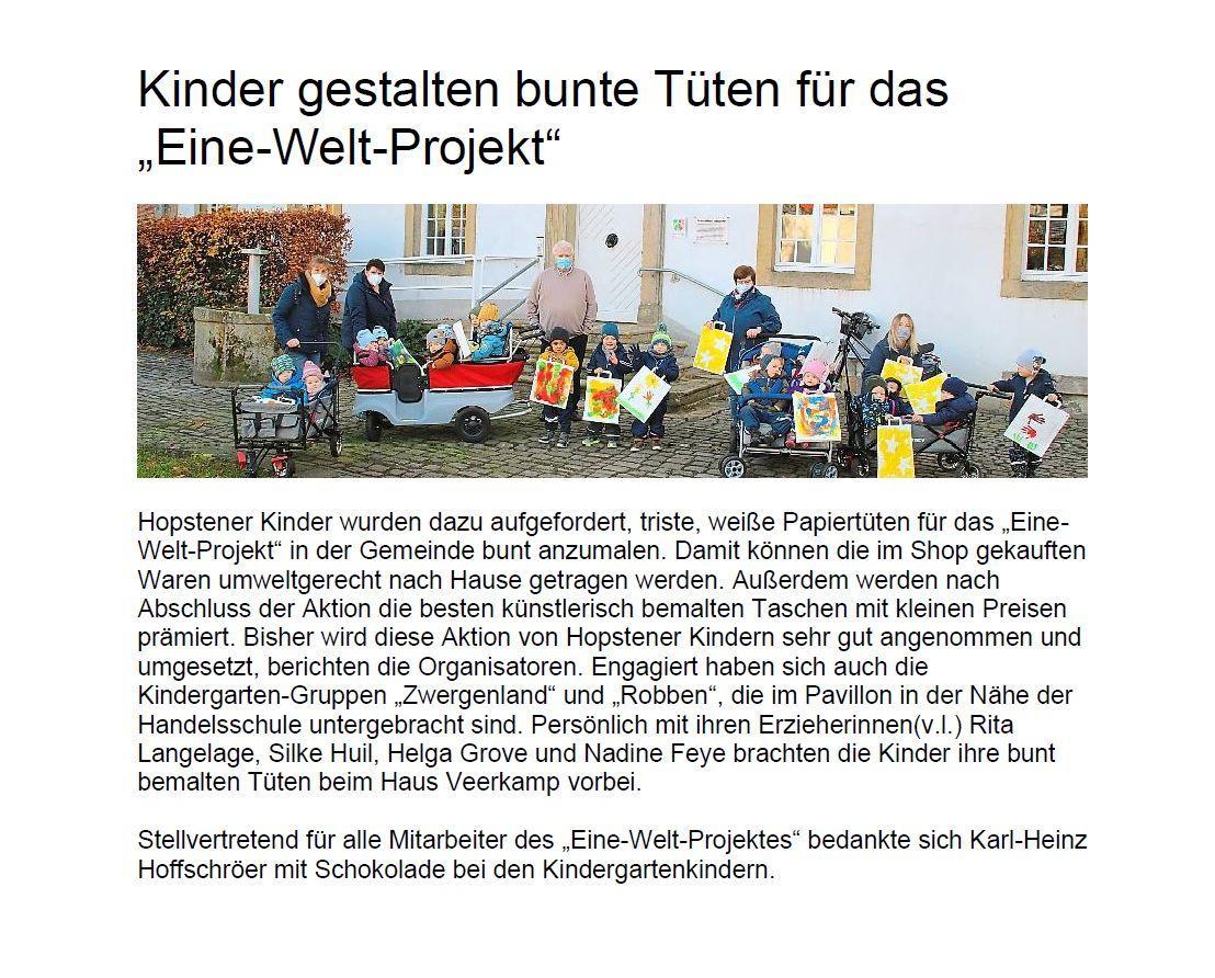 """Kinder gestalten bunte Tüten für das """"Eine-Welt-Projekt"""""""