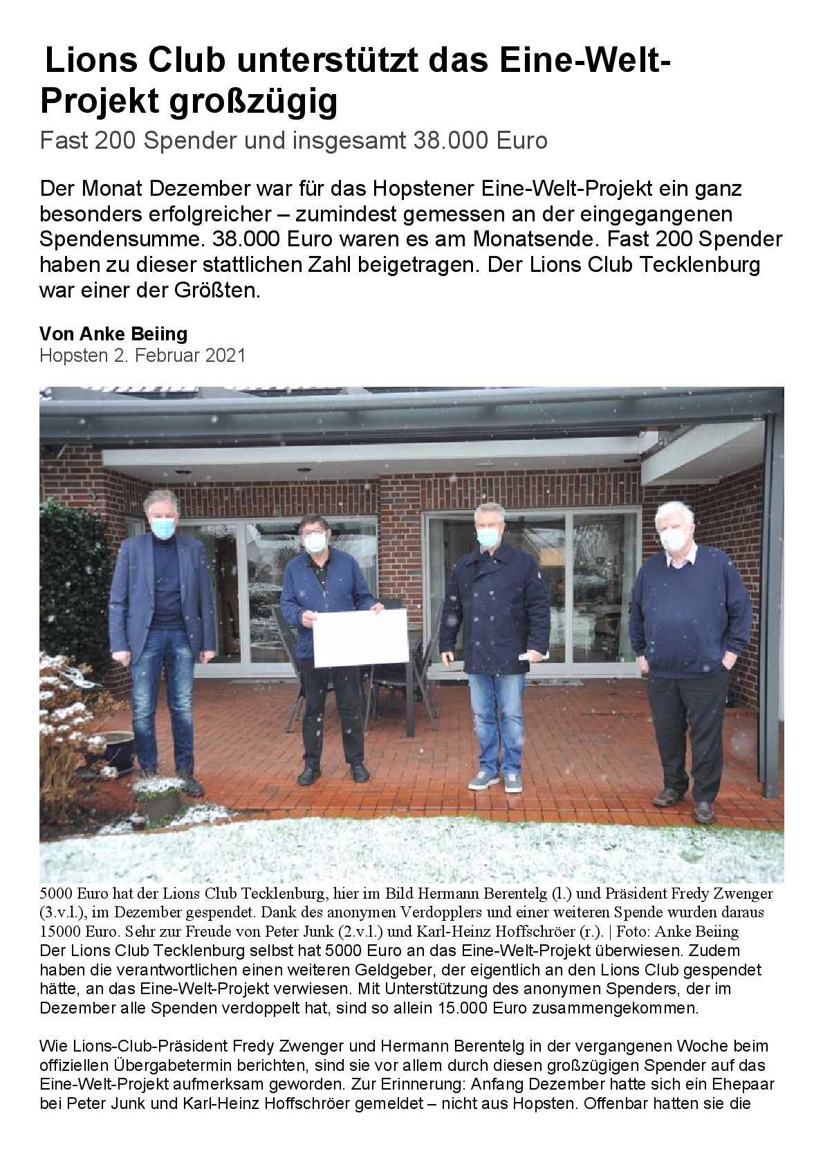 IVZ_Lions Club unterstützt das Eine-Welt-Projekt
