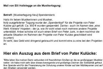Mail von Frau Hollstegge