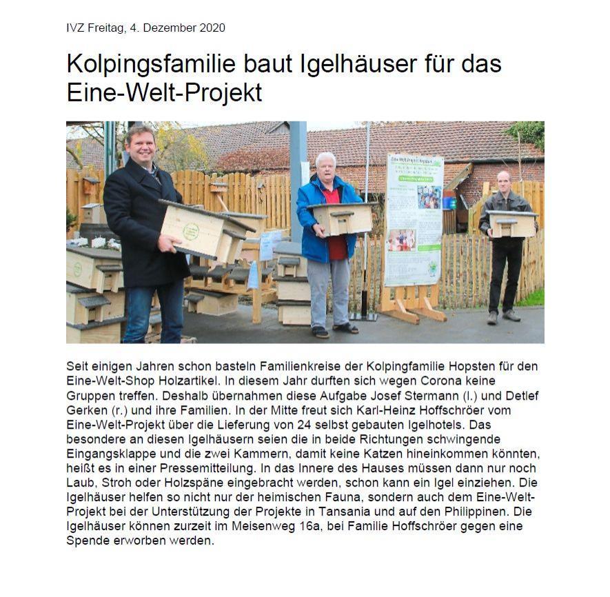 Kolpingsfamilie baut Igelhäuser für das Eine-Welt-Projekt
