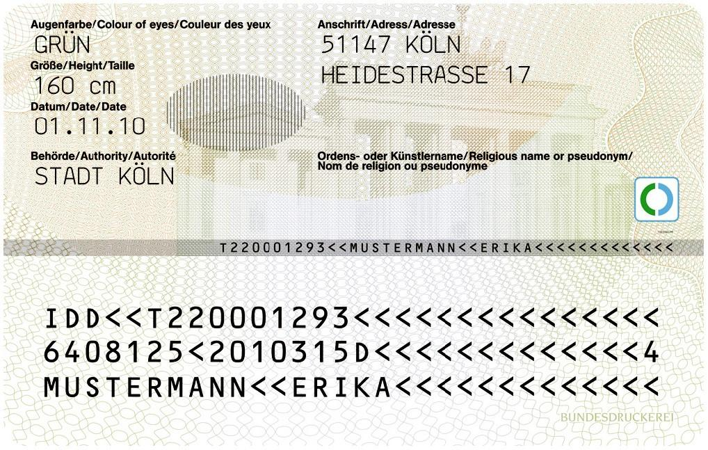 Personalausweis Rückseite