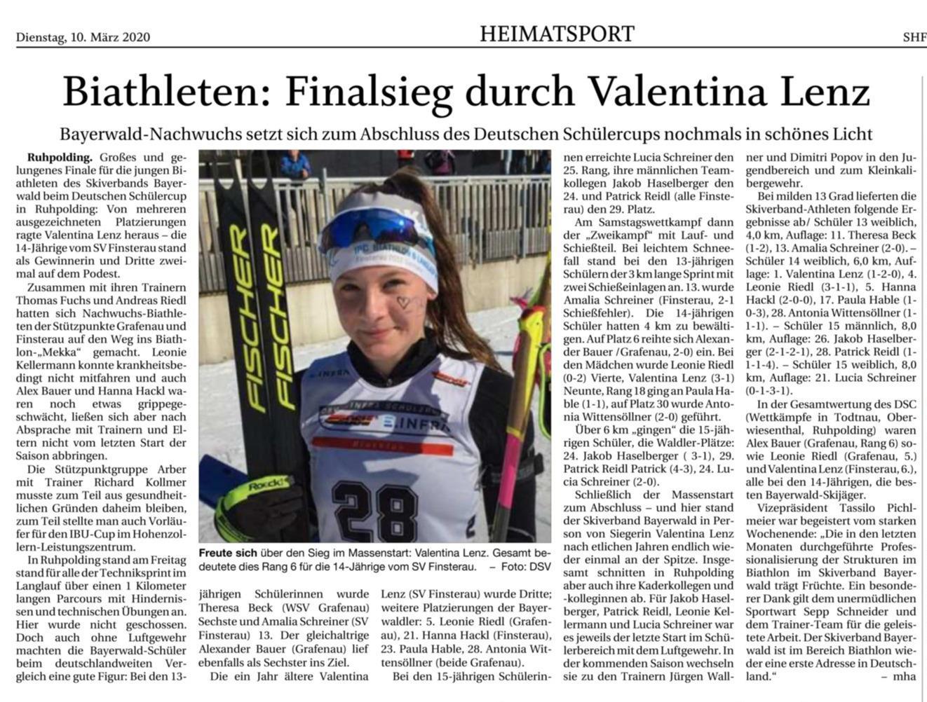 Biathlon: Finalsieg durch Valentina Lenz