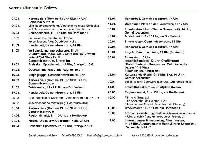 Veranstaltungen Golzow Seite 1