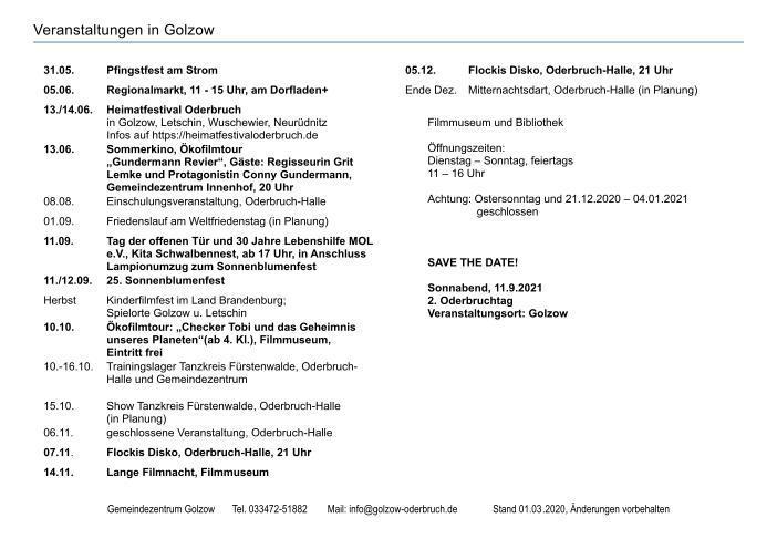 Veranstaltungen Golzow Seite 2