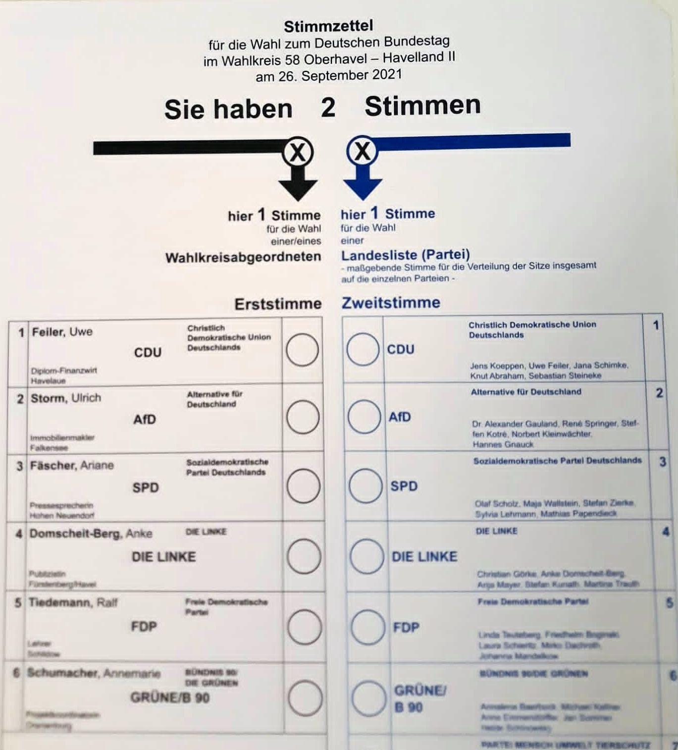 Stimmzettel BTW 2021