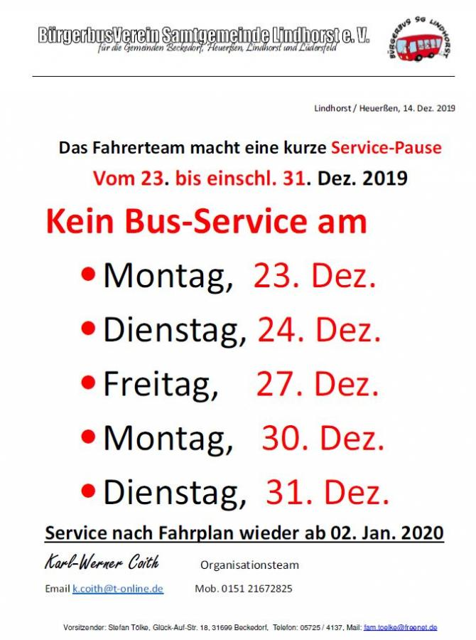 Servicepause Bürgerbus