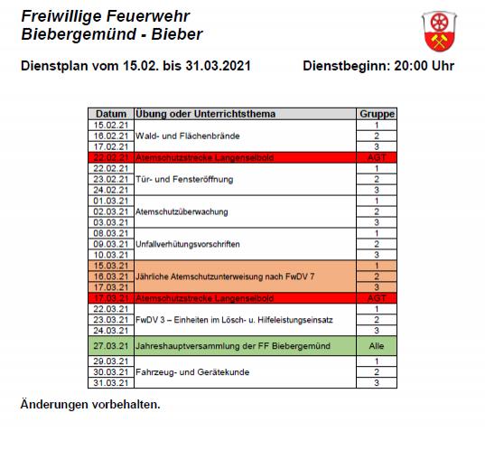 Dienstplan FFB 01/2021